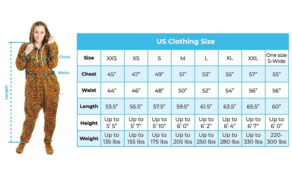 forever lazy size chart