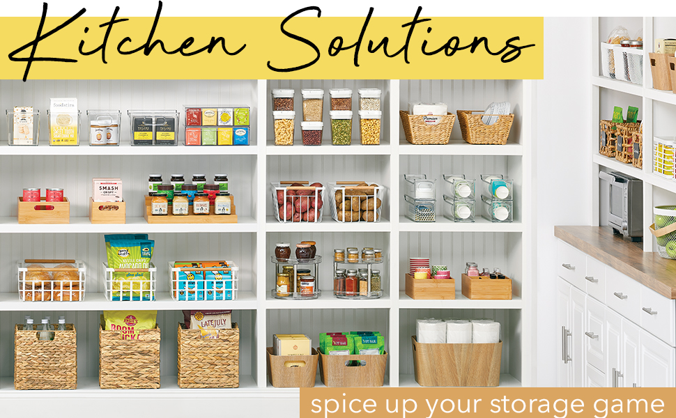 kitchen solutions heading, pantry setting, white shelves, bins, baskets holding organized food items