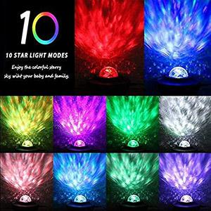 3 in 1 Night Light Projector with Moving Ocean Wave