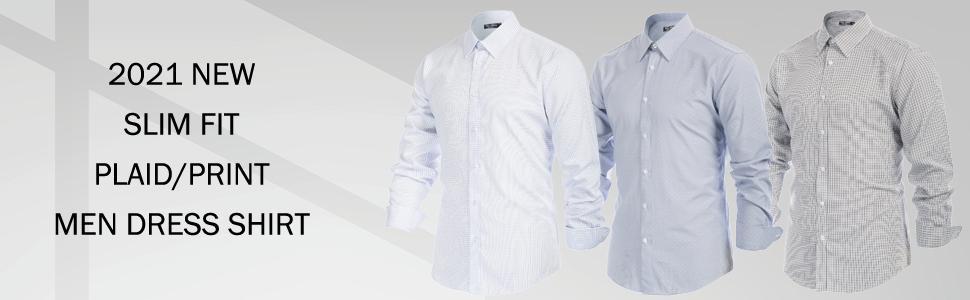 MEN SLIM FIT BUTTON DOWN DRESS SHIRTS