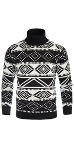 mens casual slim fit turtleneck sweater argyle contrast color block thick thermal pullover sweaters