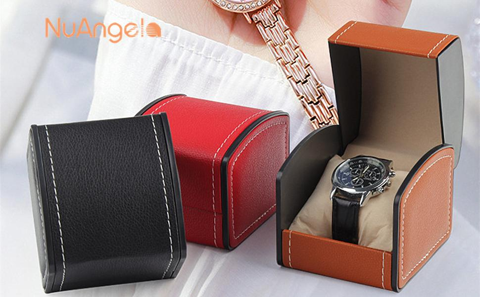 watch box boxes case cases pu leather single slot wristwatches smart watch women men travel display