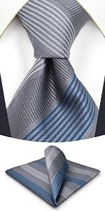 Set di cravatte da uomo a righe grigio blu