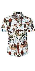 mens short sleeve button up hawaiian shirt summer beach party club