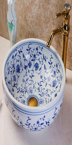 blue and white porcelain vanity sink