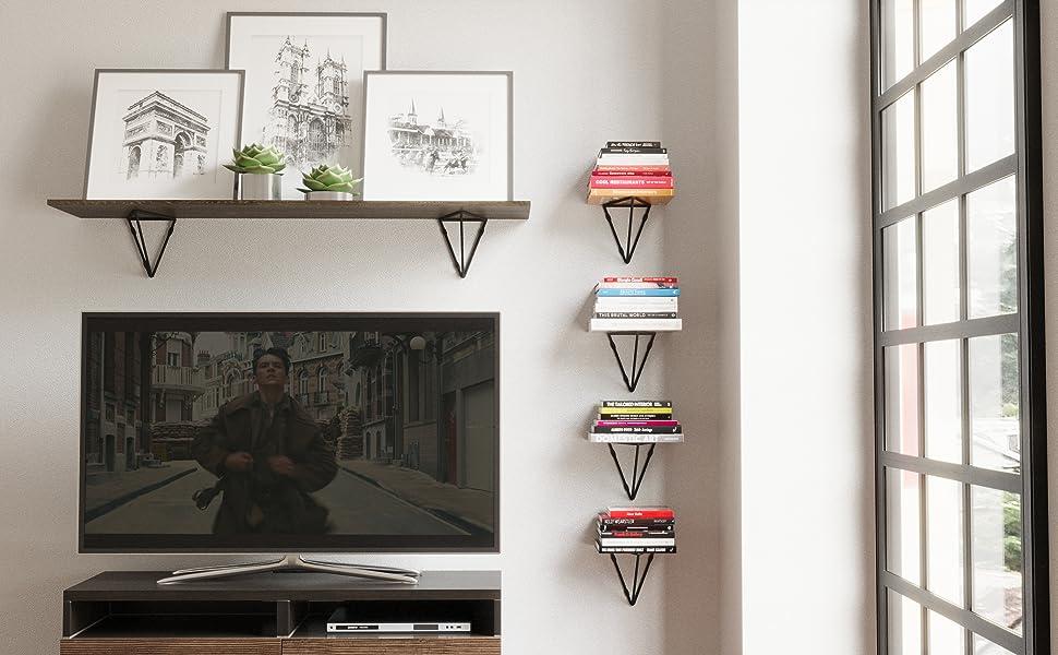 Wallniture Prismo shelf brackets set of 4 bookshelf floating shelves kitchen decor farmhouse decor