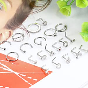 l shaped nose rings