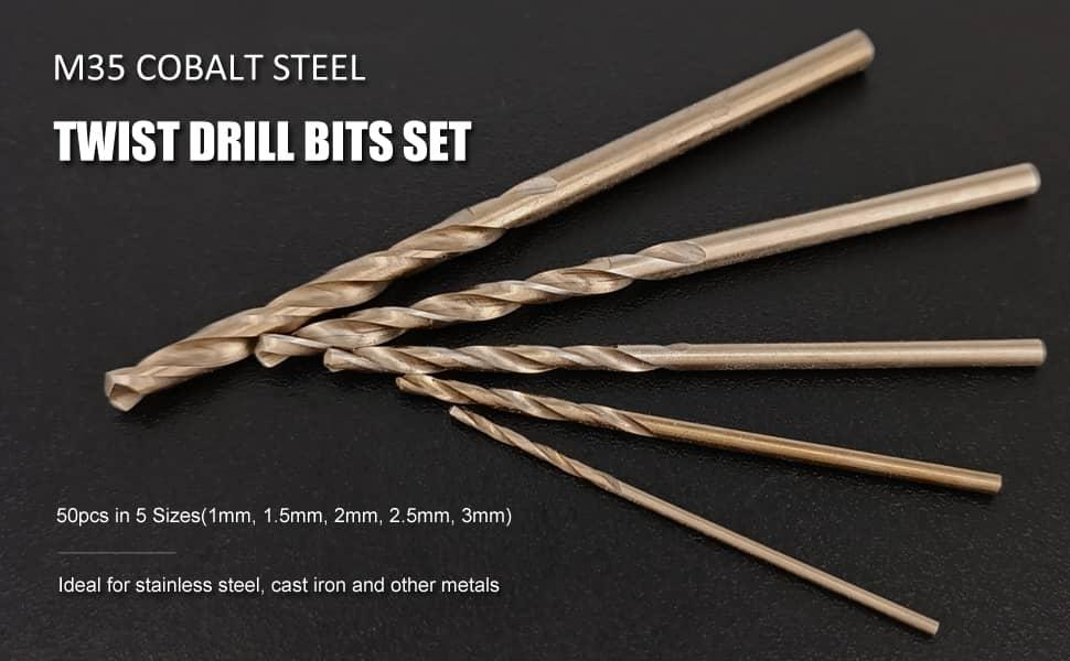 Hymnorq Small Twist Drill Bits Set of 50pcs for Wood Plastic Aluminum Sheet Iron Titanium Coated High Speed Steel 4341 Jobber Length and Round Shank 5 Metric Sizes 1mm 1.5mm 2mm 2.5mm 3mm