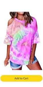 Women Tie Dye Shirts Short Sleeve O Neck Cold Shoulder Cut Out