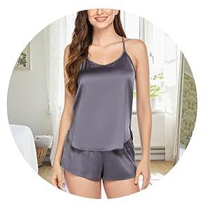 Ekouaer Silk Pajamas Set Satin Lingerie Sleepwear Sexy Cami Shorts Set for Women
