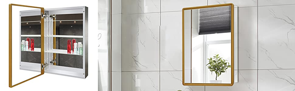 framed medicine cabinet with mirror