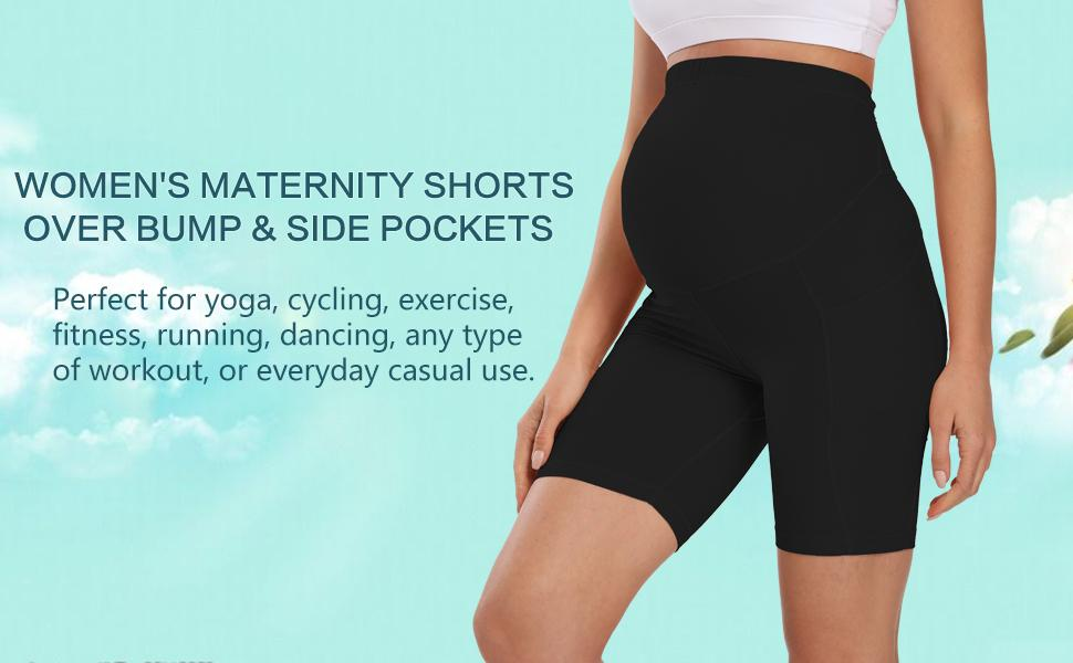 maternity shorts over the belly