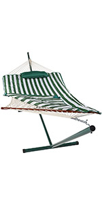 Sunnydaze Rope Hammock with 12-Foot Stand - Pad amp; Pillow - Green amp; White Stripe