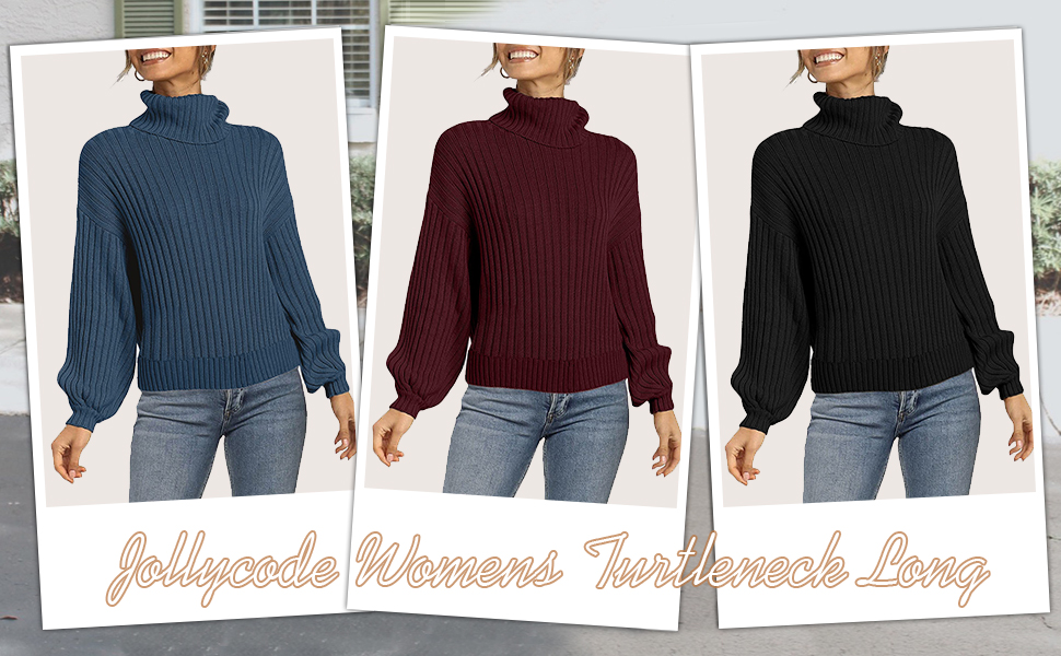 Womens Solid Color Turtleneck Sweater More Color Available