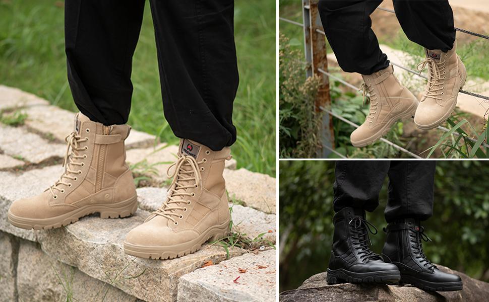 Men's Military Tactical Work Boots Army Jungle Boots with Zipper Lightweight Combat Boots Desert