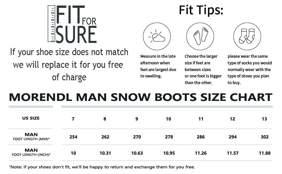 mans snow boots size chart