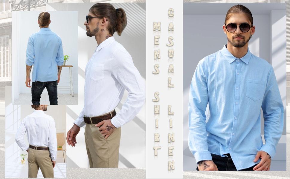 LVCBL Men's Short Sleeve Henley Summer Shirt Men Casual Shirt with Breast Pocket
