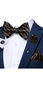 Classic Striped Self Bow Tie and Lapel Pin Set for Men