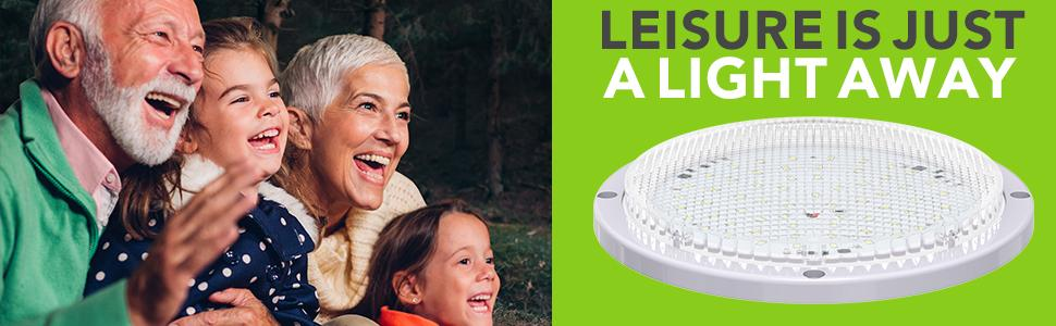 """Leisure is just a light away RV Trailer Exterior 8.5"""" White Round Scare Light Extra Bright 1000LM"""