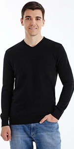 Black V-Neck Sweaters for Men