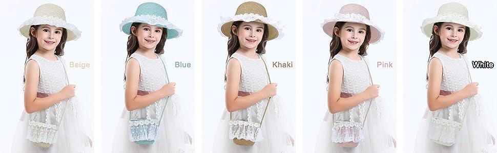 Kids Girl Straw Sun Hat  with Pocket Set