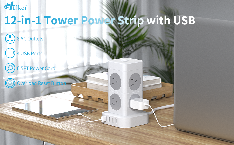12-in1 tower power strip with usb.
