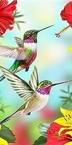 Diamond Painting of Hummingbird Flowers