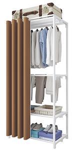 Porte-vêtements à 4 niveaux marron