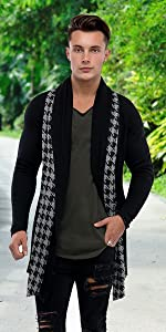 Menamp;#39;s Casual Collar Plaid Pattern Open-Front Shawl Color Knit Cardigan