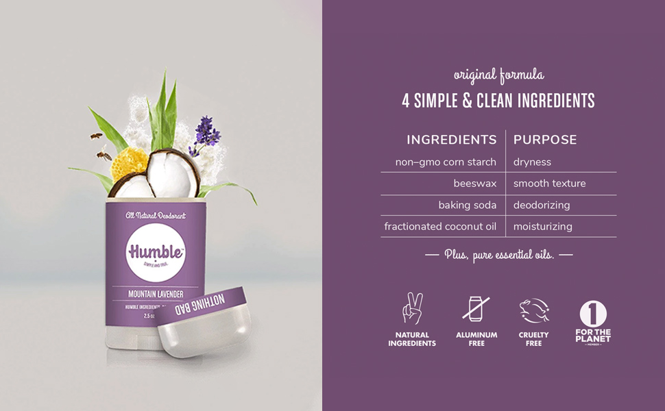 No aluminum all natural deodorant ingredients chart