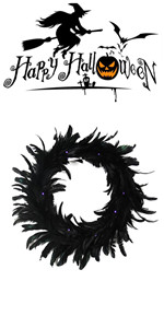 Black Natural Feather Wreath