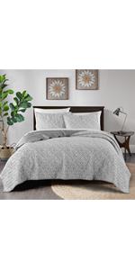 2-Grey Light Blue Watercolor Geometric  3-Piece quilt Set