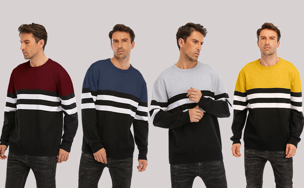 cogild mens striped relax fit knit sweaters
