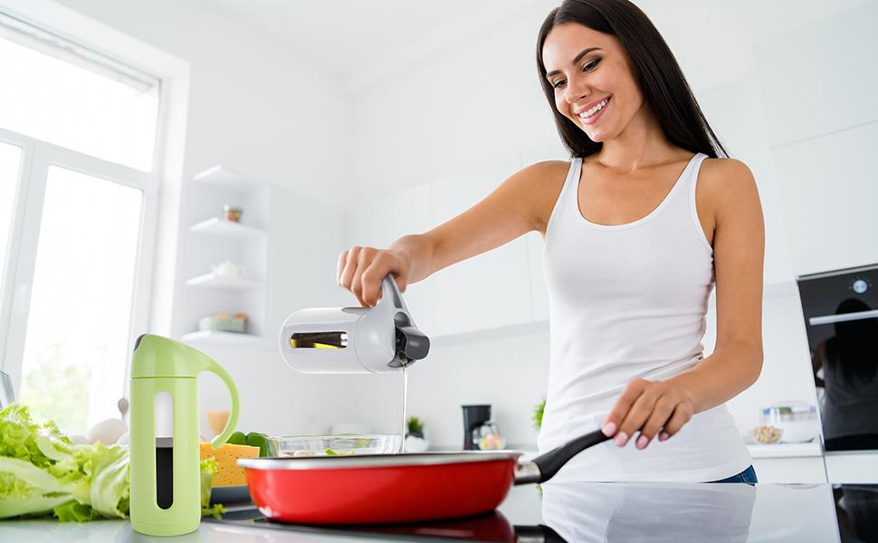 Olive Oil Dispenser Bottle for Kitchen Cooking