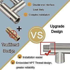 NPT Upgrade Design, Installation Easier, Embedded NPT Thread Design Greater Reliability
