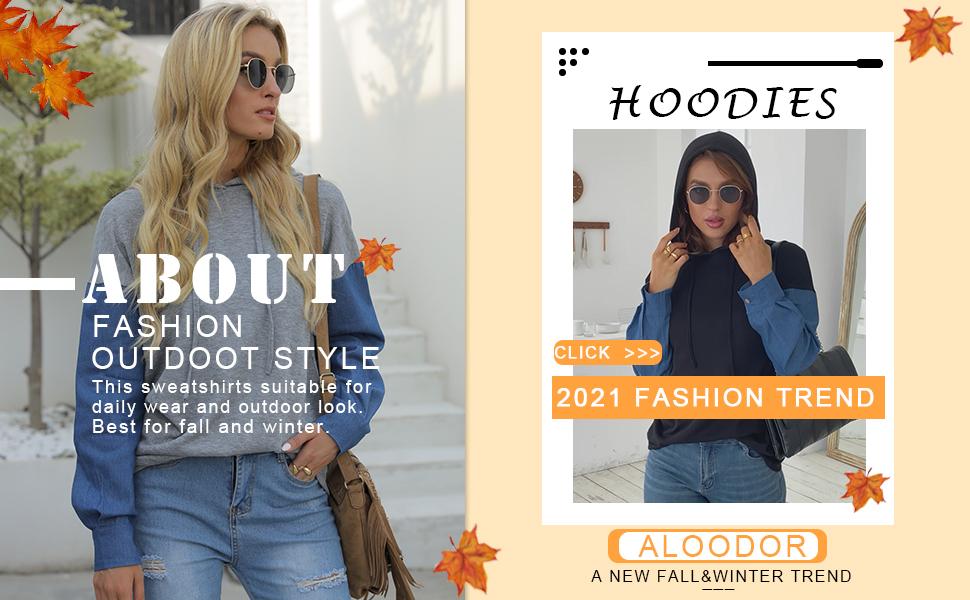 Aloodor Womens Hoodies with Drawstring