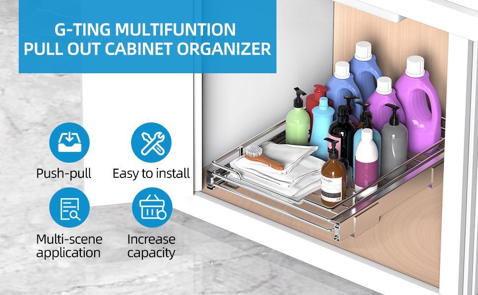 multifunction sliding cabinet organizer