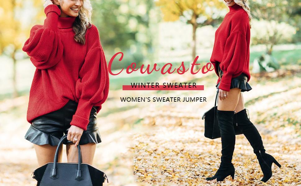 Turtleneck Sweater for women elegant balloon sleeve sweater for women