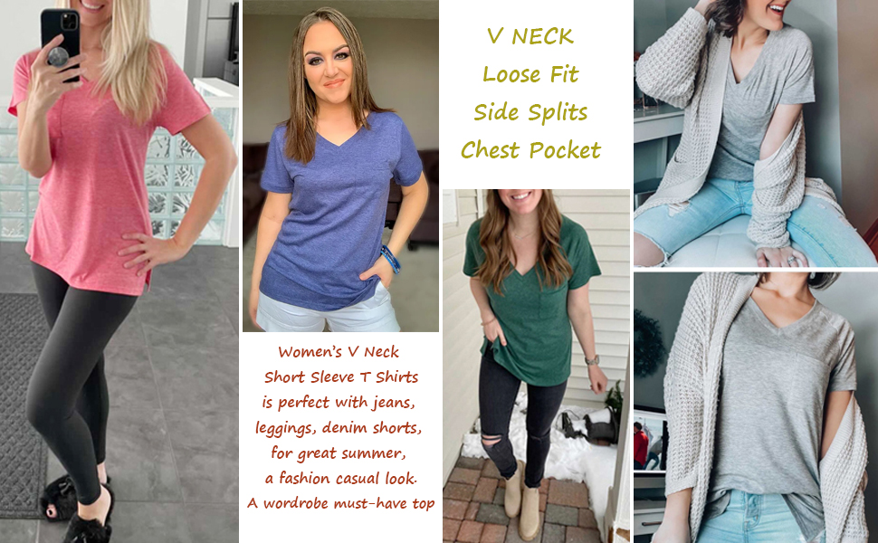 Zuoyouzi Women's V Neck Short Sleeve T Shirts with Pocket Casual Summer Loose Tops Basic Tees