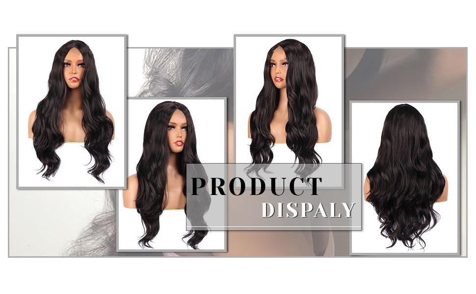LuLu Haireate Long Body Wave Wig Brown Wavy Synthetic Wigs for Women