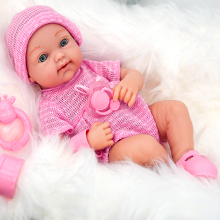 """The Magic Toy Shop 14"""" Real Touch Vinyl Skin New Born Girl / Boy Baby Doll With Dummy & Accessories"""