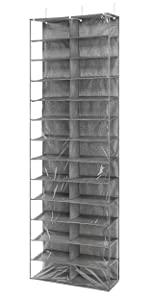 Over The Door Shoe Shelves - 26 Sections - Crosshatch Gray