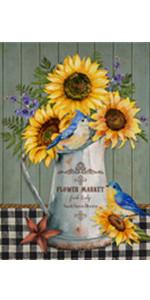 Home Decorative Sunflower Vase Garden Flag
