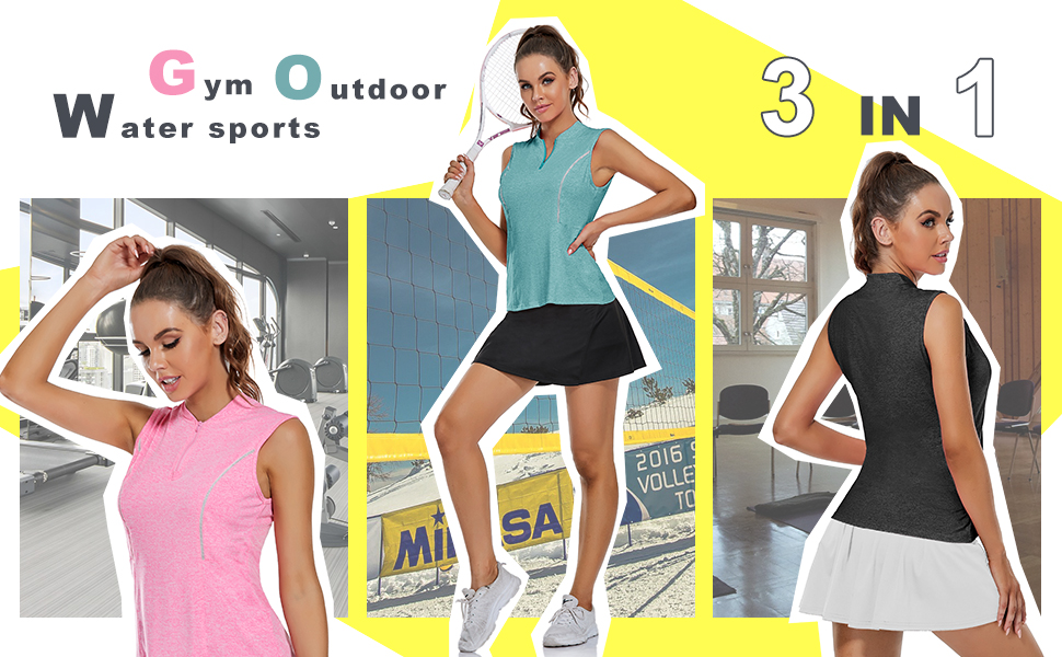 Women V-Neck Tennis Shirts Curved Waist Casual Shirts Sleeveless Loose Fit Dri Fit Golf T-Shirts