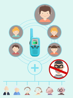 walkie talkies with 22CH, 99CTCSS, one to more communication features