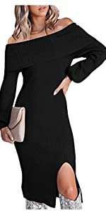Women's Off The Shoulder Bodycon Sweater Dress