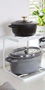 山崎実業(Yamazaki) 鍋スタンド 2段 ホワイト 約W20.5XD21XH22.5cm タワー クッション付きで鍋が滑りにくい フック付き 5154