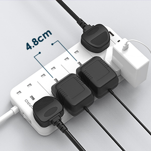 extension lead with wide spaced sockets