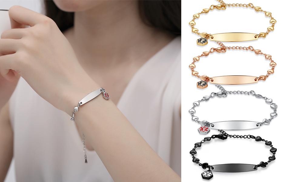 heart medical id bracelets for women