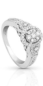 vintage diamond halo engagement ring with ornate design